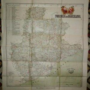 MAPA PLANO PROVINCIA DE BARCELONA 68,7 X 82,5 REAL AUTOMÓVIL CLUB DE CATALUÑA OBRAS PÚBLICAS 82x68