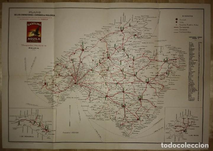 MALLORCA, MENORCA, IBIZA MAPA PLANO DE LAS CARRETERAS Y CAMINOS DE MALLORCA. GASOLINA ÁGUILA (Coleccionismo - Mapas - Mapas actuales (desde siglo XIX))