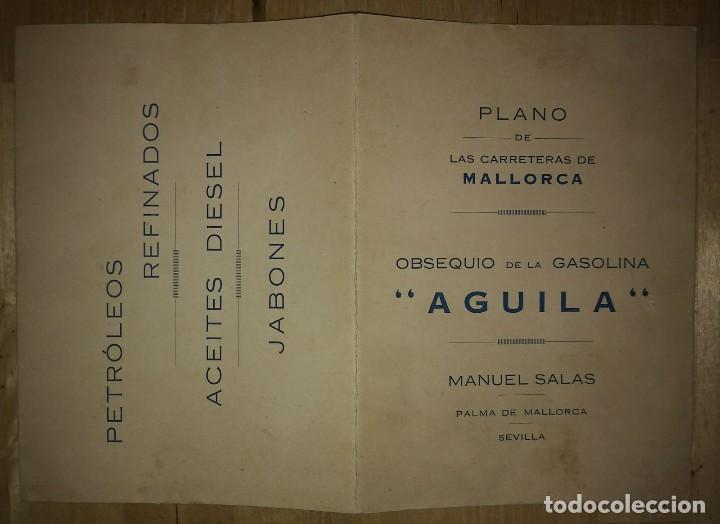 Mapas contemporáneos: Mallorca, Menorca, Ibiza Mapa Plano de las carreteras y caminos de Mallorca. Gasolina Águila - Foto 3 - 118163635