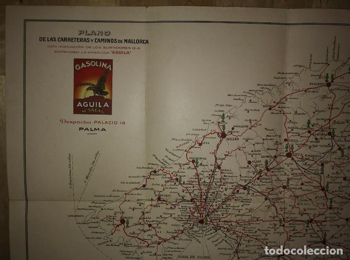Mapas contemporáneos: Mallorca, Menorca, Ibiza Mapa Plano de las carreteras y caminos de Mallorca. Gasolina Águila - Foto 4 - 118163635
