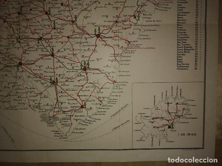 Mapas contemporáneos: Mallorca, Menorca, Ibiza Mapa Plano de las carreteras y caminos de Mallorca. Gasolina Águila - Foto 7 - 118163635