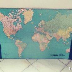 Mapas contemporáneos: PROTECTOR ESCRITORIO CON MAPA MUNDO PUBLICIDAD HANIEL TRANSPORT. Lote 119988699