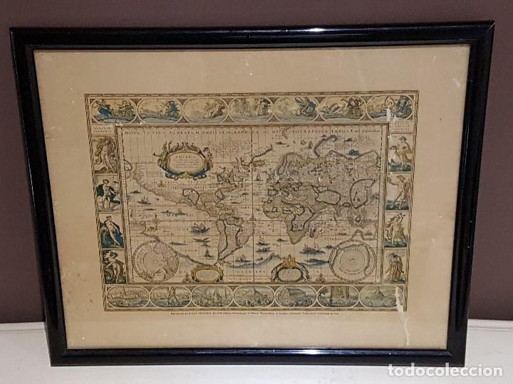 ANTIGUA REPRODUCCION ENMARCADA ATLAS MUNDIAL BLAEW LIBRERIA WURTTMBERG AÑO 1645 (Coleccionismo - Mapas - Mapas actuales (desde siglo XIX))
