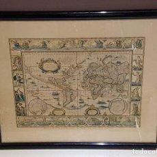 Mapas contemporáneos: ANTIGUA REPRODUCCION ENMARCADA ATLAS MUNDIAL BLAEW LIBRERIA WURTTMBERG AÑO 1645. Lote 123378607