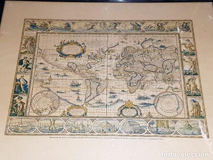 Mapas contemporáneos: ANTIGUA REPRODUCCION ENMARCADA ATLAS MUNDIAL BLAEW LIBRERIA WURTTMBERG AÑO 1645 - Foto 2 - 123378607