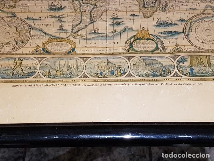 Mapas contemporáneos: ANTIGUA REPRODUCCION ENMARCADA ATLAS MUNDIAL BLAEW LIBRERIA WURTTMBERG AÑO 1645 - Foto 3 - 123378607