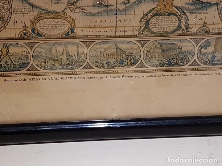 Mapas contemporáneos: ANTIGUA REPRODUCCION ENMARCADA ATLAS MUNDIAL BLAEW LIBRERIA WURTTMBERG AÑO 1645 - Foto 4 - 123378607