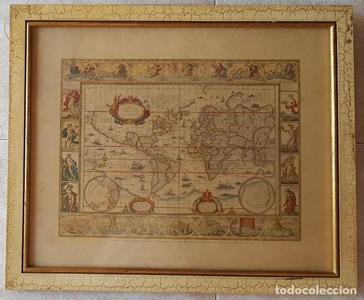 == H01 - ANTIGUA REPRODUCCION ENMARCADA DEL ATLAS MUNDIAL BLAEW - LIBRERIA WURTTMBERG AÑO 1645 (Coleccionismo - Mapas - Mapas actuales (desde siglo XIX))