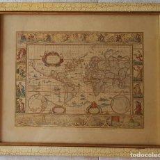 Mapas contemporáneos: == H01 - ANTIGUA REPRODUCCION ENMARCADA DEL ATLAS MUNDIAL BLAEW - LIBRERIA WURTTMBERG AÑO 1645. Lote 125270459