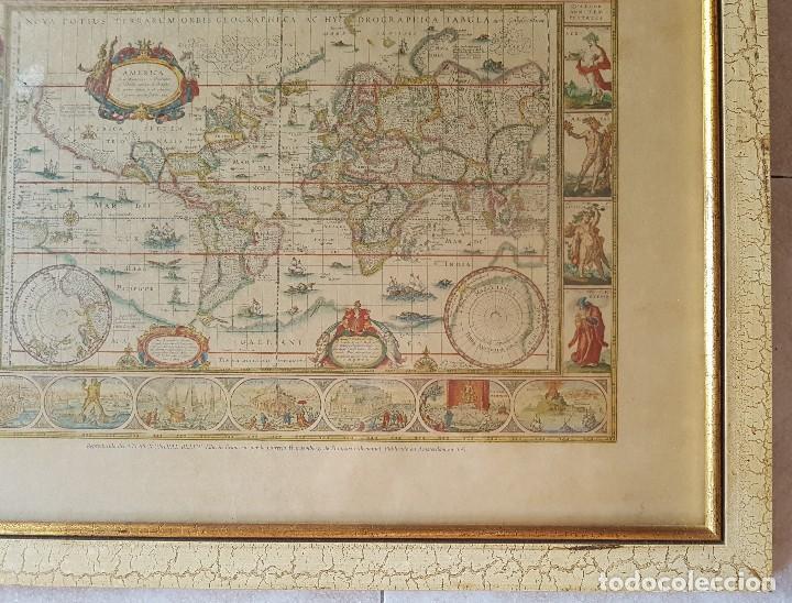 Mapas contemporáneos: == H01 - ANTIGUA REPRODUCCION ENMARCADA DEL ATLAS MUNDIAL BLAEW - LIBRERIA WURTTMBERG AÑO 1645 - Foto 2 - 125270459
