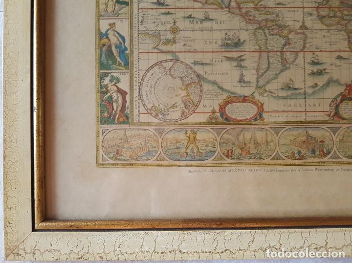 Mapas contemporáneos: == H01 - ANTIGUA REPRODUCCION ENMARCADA DEL ATLAS MUNDIAL BLAEW - LIBRERIA WURTTMBERG AÑO 1645 - Foto 3 - 125270459