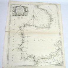 Mapas contemporáneos: 50 CM - GRABADO S.XVIII - MAPA CARTA GOLFO DE VIZCAYA . PENÍNSULA IBÉRICA. ESPAÑA PORTUGAL Y FRANCIA. Lote 125331443