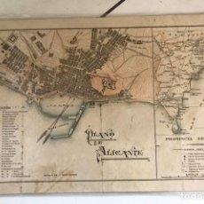 Mapas contemporáneos: ANTIGUO PLANO Y MAPA DE LA PROVINCIA DE ALICANTE APROXIMADAMENTE 1914. Lote 126239571