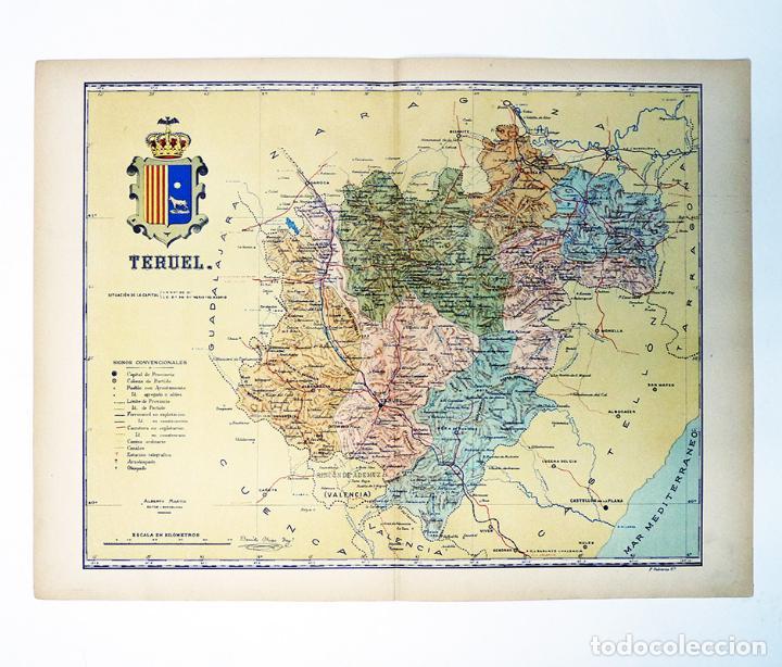 Mapa Provincia De Teruel.Mapa De La Provincia De Teruel 1902 Bellisimo Mapa De 37 X 49 Cm Litografiado En Color