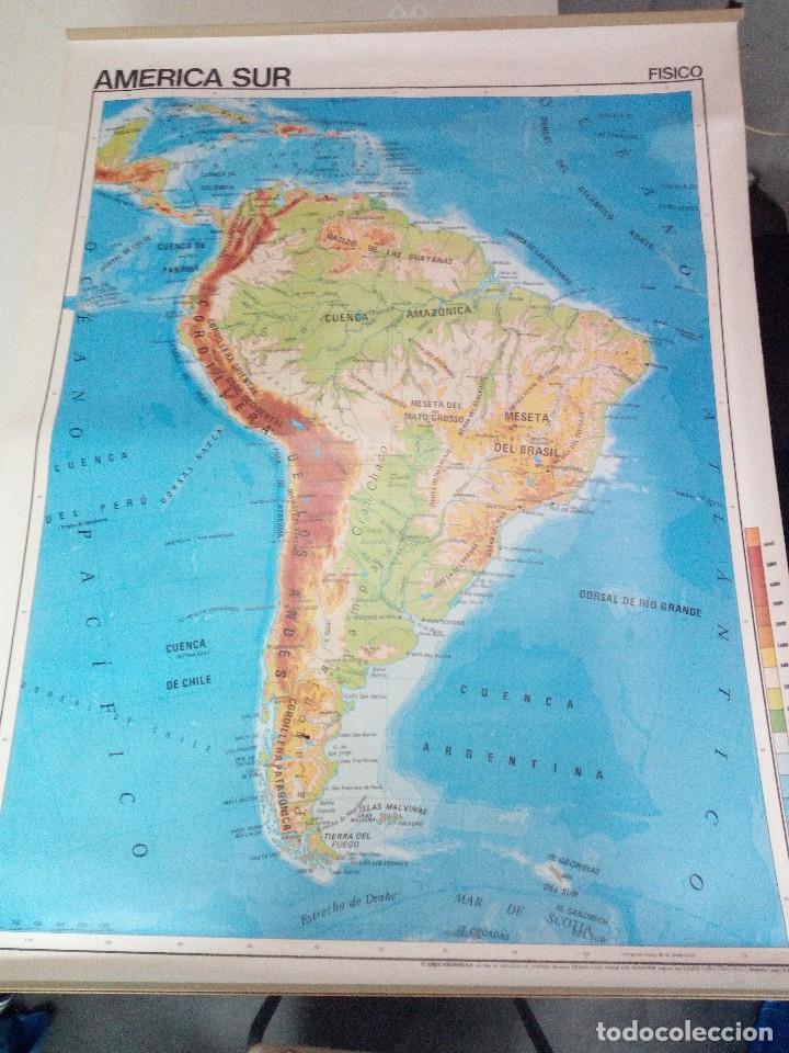 antiguo mapa escolar, america del sur fisica y - Kaufen ...