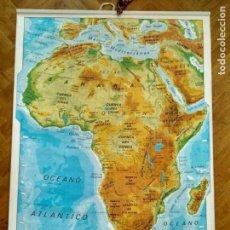 Mapas contemporáneos: DOBLE MAPA ESCOLAR DE ÁFRICA POLÍTICO FÍSICO VICENS VIVES AÑOS 80 CON CARTUCHO MEDIDAS 126 X 88 CM. Lote 127679179