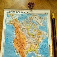 Mapas contemporáneos - MAPA ESCOLAR DOBLE AMÉRICA NORTE POLÍTICO FÍSICO - EDICIONES EDIGOL AÑOS 70 - MEDIDAS 119 X 90 cm - 127680583