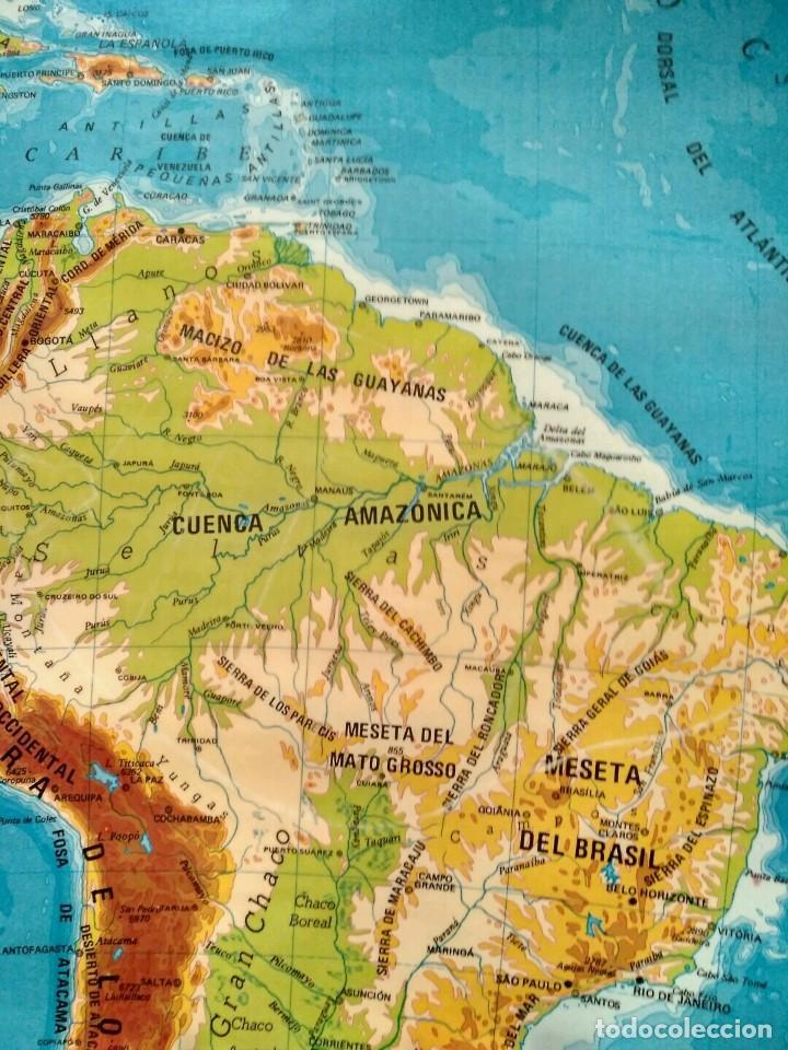 Mapas contemporáneos: MAPA ESCOLAR DOBLE AMÉRICA SUR POLÍTICO FÍSICO - EDICIONES EDIGOL AÑOS 80 - MEDIDAS 119 X 90 CM - Foto 3 - 127680671
