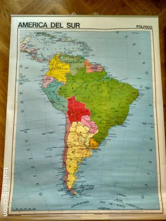 Mapas contemporáneos: MAPA ESCOLAR DOBLE AMÉRICA SUR POLÍTICO FÍSICO - EDICIONES EDIGOL AÑOS 80 - MEDIDAS 119 X 90 CM - Foto 2 - 127680671