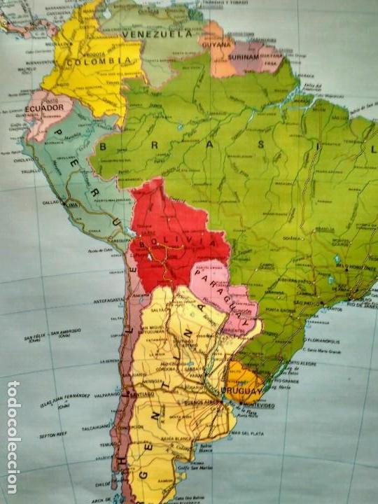 Mapas contemporáneos: MAPA ESCOLAR DOBLE AMÉRICA SUR POLÍTICO FÍSICO - EDICIONES EDIGOL AÑOS 80 - MEDIDAS 119 X 90 CM - Foto 4 - 127680671