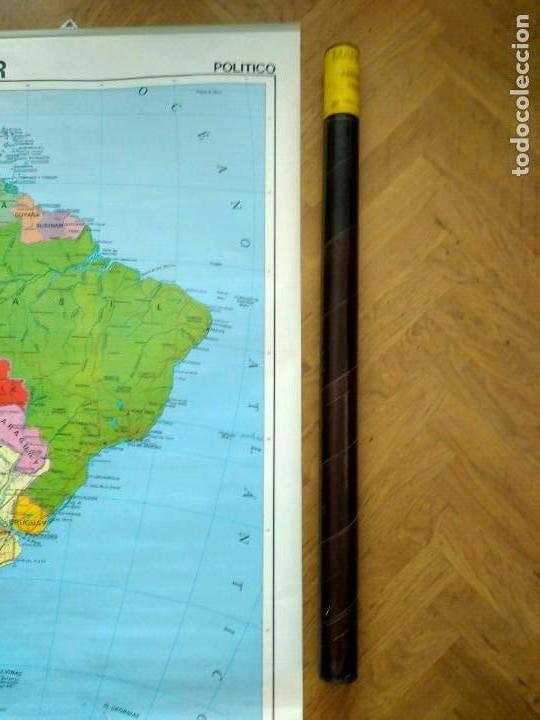 Mapas contemporáneos: MAPA ESCOLAR DOBLE AMÉRICA SUR POLÍTICO FÍSICO - EDICIONES EDIGOL AÑOS 80 - MEDIDAS 119 X 90 CM - Foto 6 - 127680671
