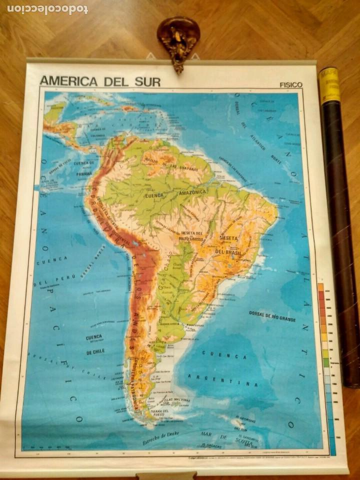 MAPA ESCOLAR DOBLE AMÉRICA SUR POLÍTICO FÍSICO - EDICIONES EDIGOL AÑOS 80 - MEDIDAS 119 X 90 CM (Coleccionismo - Mapas - Mapas actuales (desde siglo XIX))