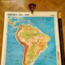 Mapas contemporáneos: MAPA ESCOLAR DOBLE AMÉRICA SUR POLÍTICO FÍSICO - EDICIONES EDIGOL AÑOS 80 - MEDIDAS 119 X 90 CM. Lote 127680671