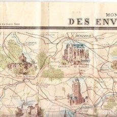 Mapas contemporáneos: MONUMENTS ET VUES - DES ENVIRONS DE PARIS - L POULMAIRE - F MENETRIER - GARNIER FRÈRES - 75 X 55 CMS. Lote 128319663