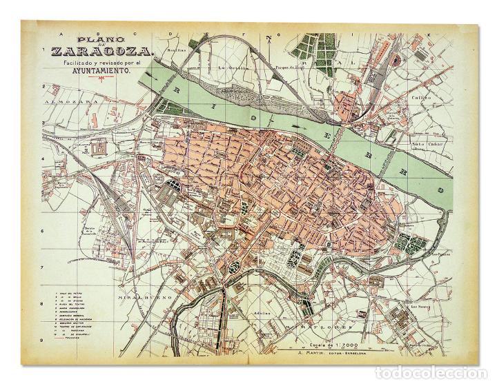 Mapa De Zaragoza Ciudad.Plano De La Ciudad De Zaragoza De 1915 Bellisimo Plano De 37 X 50 5 Cm Litografiado En Color
