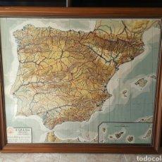 Mapas contemporáneos: IMPRESIONANTE MAPA MUDO FISICO POLITICO DE ESPAÑA CARTOGRAFÍA EDELVIVES AÑOS 50 - MEDIDAS 112X96CM. Lote 129165854