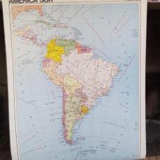 Mapas contemporáneos - VINTAGE MAPA ESCOLAR AMERICA SUR POLITICA/FISICA EDIGOL 1976 MIDE 116/90 DOBLE - 129234023