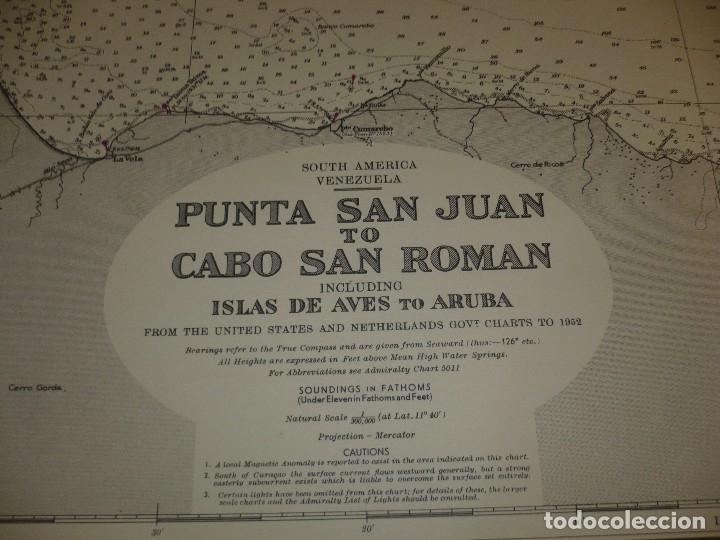 Mapas contemporáneos: CARTA MARITIMA PUNTA DE SAN JUAN TO CABO SAN ROMAN 140 CM X 86 CM - Foto 2 - 129565279