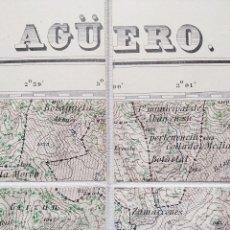 Mapas contemporáneos: MAPA DE AGUERO, HUESCA, ENCARTADO ORIGINAL EN TELA. PRIMERA EDICIÓN, AÑO 1930.. Lote 129703547