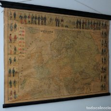 Mapas contemporáneos: MAPA DE EUROPA 1906 POLÍTICO Y COMERCIAL J. DOSSERAY ILUSTRADO CON TIPOS Y UNIFORMES MILITARES. Lote 130068971