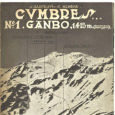 Mappe contemporanee: CUMBRES Nº1 GANBO (SIERRA DE ARALAR). 1950. JESÚS ELÓSEGUI Y CARLOS MENAYA. Lote 130649433