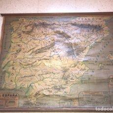 Mapas contemporáneos: MAPA FISICO ESPAÑA AÑOS 60 COLEGIO. Lote 131344386