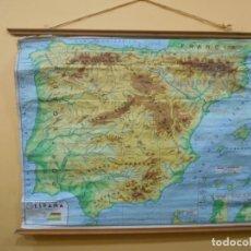 Mapas contemporáneos: ANTIGUO MAPA FISICO DE ESPAÑA DE ESCUELA EN TELA-PAPEL - AÑO 1962 -. Lote 131737454