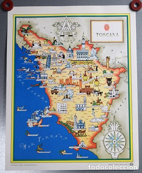 Toscana Italia Mapa Ilustrado Turistico 33 Buy Contemporary