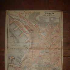 Mapas contemporâneos: PLANO TRIESTE, ITALIA, ORIGINAL, BAEDEKER, 1911, ESPLÉNDIDO ESTADO. Lote 132191866