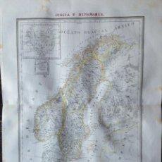 Mapas contemporáneos: MAPA SUECIA Y DINAMARCA BARCELONA 1835. DOMINGO ESTRUE.. Lote 132633342