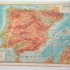 Mapas contemporáneos: ANTIGUO MAPA FÍSICO DE ESPAÑA. Lote 27382301