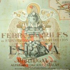Mapas contemporáneos: MAPA DE LOS FERROCARRILES EN EXPLOTACIÓN, CONSTRUCCIÓN Y PROYECTO. FORCANO CATALÁN. 80 X 108 CMS.. Lote 133773166