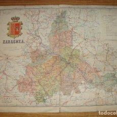 Mapas contemporáneos: (TC-135) MAPA DE ZARAGOZA SOBRE TELA INTERESANTE PIEZA VER FOTOS. Lote 134138626