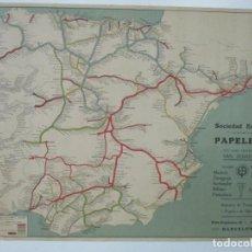 Mapas contemporáneos: MAPA DE LOS FERROCARRILES DE ESPAÑA Y PORTUGAL -PUBLICIDAD GUÍA RICH -SOCIEDAD ESPAÑOLA DE PAPELERÍA. Lote 135681519