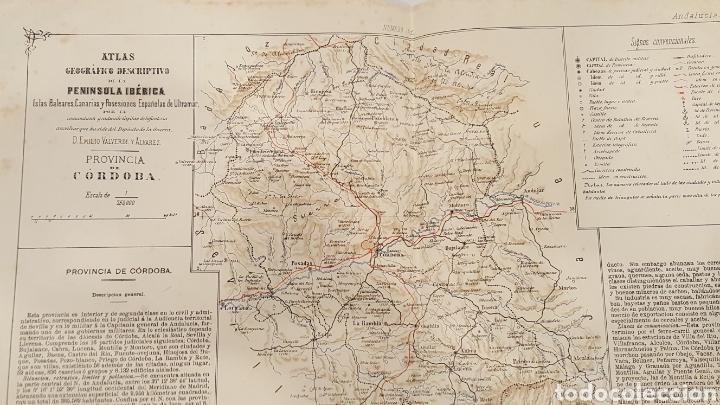Mapa De La Peninsula.Atlas Geografico Descriptivo De La Peninsula Provincia De Cordoba 1880