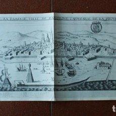 Mapas contemporáneos: PLANO MAPA VISTA DE BARCELONA DESDE EL MAR, PARIS 1645, JEAN BOISSEAIU 76 X 30,50 CM, CATALUÑA. Lote 137242406