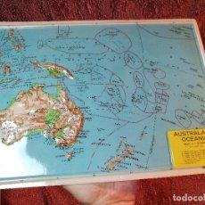 Mapas contemporáneos: MAPA ESCOLAR COLEGIO AUSTRALIA OCEANIA -LÁMINA DE PLÁSTICO EN RELIEVE. ED. RICO FIRENZE. AÑOS 60.. Lote 137349990