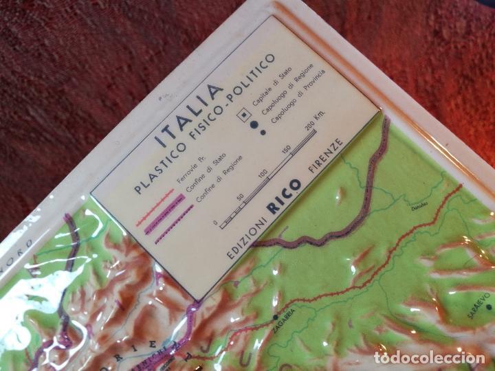 Mapas contemporáneos: MAPA ESCOLAR COLEGIO ITALIA FISICO -LÁMINA DE PLÁSTICO EN RELIEVE. ED. RICO FIRENZE. AÑOS 60. - Foto 6 - 175012317