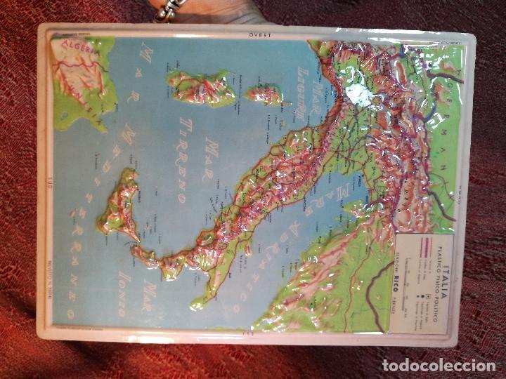 Mapas contemporáneos: MAPA ESCOLAR COLEGIO ITALIA FISICO -LÁMINA DE PLÁSTICO EN RELIEVE. ED. RICO FIRENZE. AÑOS 60. - Foto 7 - 175012317