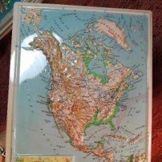 Mapas contemporáneos: MAPA ESCOLAR COLEGIO AMERICA DEL NORTE-LÁMINA DE PLÁSTICO EN RELIEVE. ED. RICO FIRENZE. AÑOS 60.. Lote 137350634